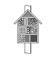 Insect house line style bugs and bees hotel vector