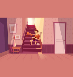 Interior with man cat on stairs vector