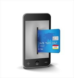 Internet shopping with smartphone and creditcard vector