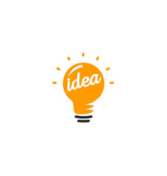 isolated abstract orange color light bulb logotype vector image