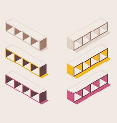 isometric outline full color shelf for books vector image