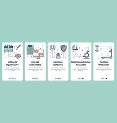 Line art web and mobile app template set vector