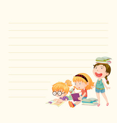 line paper template with girls reading books vector image