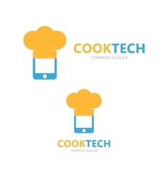 logo combination of a phone and chef hat vector image
