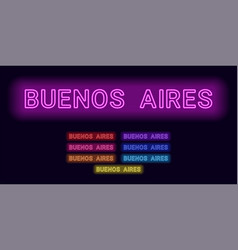 Neon name of buenos aires city vector