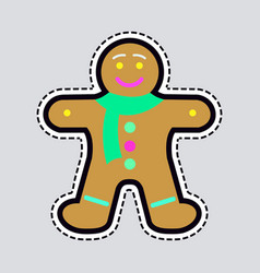 new year decorated gingerbread in shape man vector image