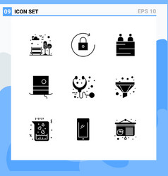 Pack 9 creative solid glyphs medical care vector
