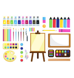 Painting tools creative materials for workshop vector