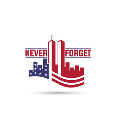 Patriot day logo with twin towers on american flag vector