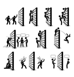 People with a wall stick figures pictograph icons vector