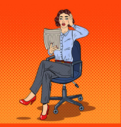 pop art shocked business woman reading a newspaper vector image