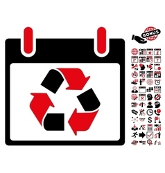 Recycle calendar day flat icon with bonus vector