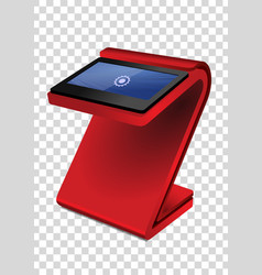 Red promotional interactive information kiosk vector