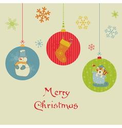 retro christmas balls card vector image vector image