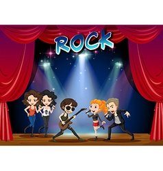 Rock band playing on stage vector image