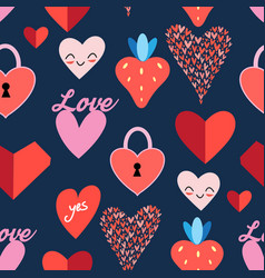 Seamless bright pattern with hearts vector