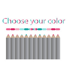 Seamless colored pencils row with wave on lower vector