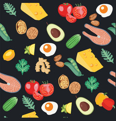 seamless pattern with organic vegetables set of vector image