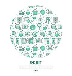 security and protection concept in circle vector image