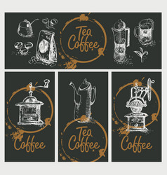 set design elements on tea and coffee theme vector image