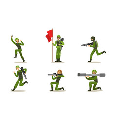 set military men in green uniform vector image