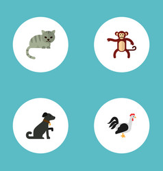 Set of animal icons flat style symbols with cat vector
