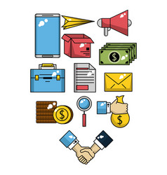 set of business and technology icons vector image