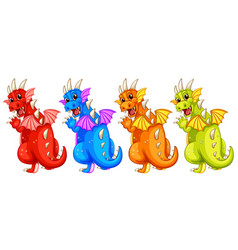 set of diffrent colour dragon vector image