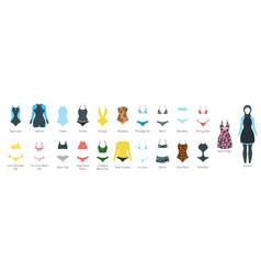 set of female swimsuit vector image