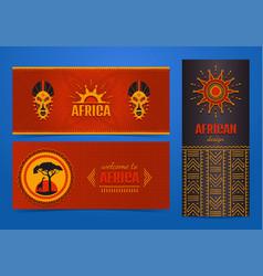 set of stylish african banners ethnic tribal art vector image