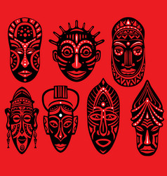 set of tribal african masks on red background vector image