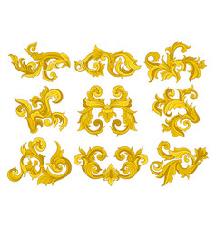 set of vintage baroque ornaments elegant vector image