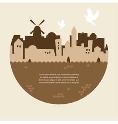 Skyline old city jerusalem vector