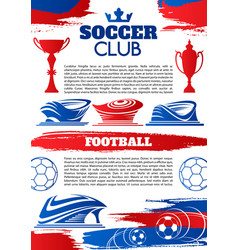 soccer sport game banner of football club template vector image