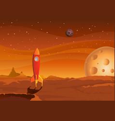 spaceship-on-martian-landscape vector image