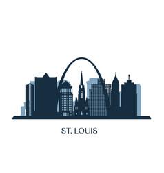 st louis skyline monochrome silhouette vector image