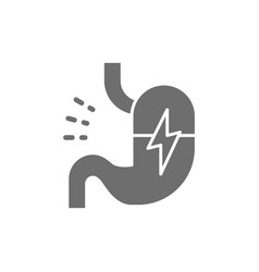 Stomach ache abdominal pain grey icon isolated vector