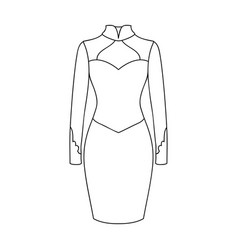 Strict two-color female dress to the knee dresses vector