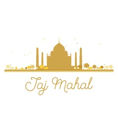Taj Mahal golden silhouette vector