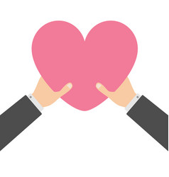 two businessman hands arms holding pink heart vector image