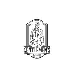 vintage logo with bold man with a suit elegant vector image