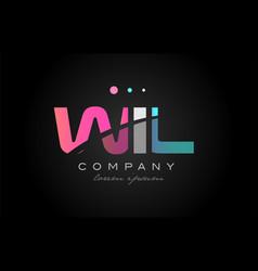 wil w i l three letter logo icon design vector image