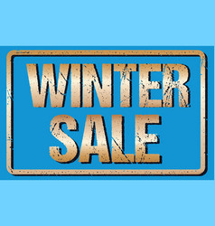 winter sale typography isolated on blue rubber vector image