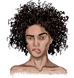 young woman with curly-haired vector image