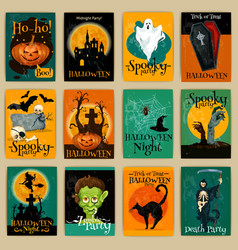 Complete set of retro posters for Halloween party vector image