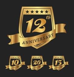 Golden anniversary badge labels vector image