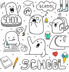 Set doodle characters and school facilities Anime vector image