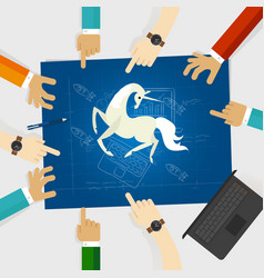 unicorn start-up tech company hands pointing white vector image