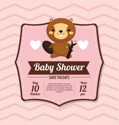 Baby shower card invitation beauty beaver vector