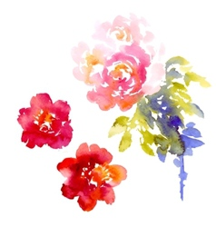 background with pink watercolor bouquet vector image vector image